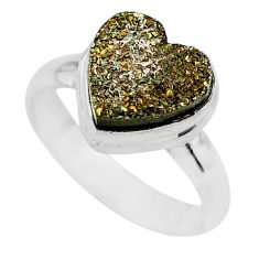 5.12cts heart golden pyrite druzy 925 silver handmade ring size 7 t21774