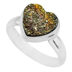 5.14cts heart golden pyrite druzy 925 silver handmade ring size 7 t21775