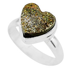 5.35cts heart golden pyrite druzy 925 silver handmade ring size 7 t21778
