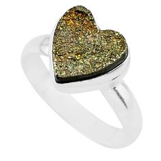 5.38cts heart golden pyrite druzy 925 silver handmade ring size 8 t21761