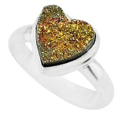 5.11cts heart golden pyrite druzy 925 silver handmade ring size 8 t21762