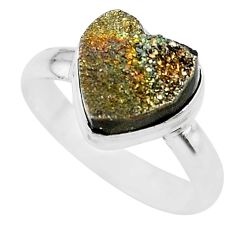 5.11cts heart golden pyrite druzy 925 silver handmade ring size 8 t21767