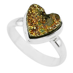 5.12cts heart golden pyrite druzy 925 silver handmade ring size 8 t21777
