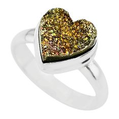 4.84cts heart golden pyrite druzy 925 silver handmade ring size 8 t21779
