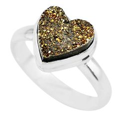 5.38cts heart golden pyrite druzy 925 silver handmade ring size 9 t21770