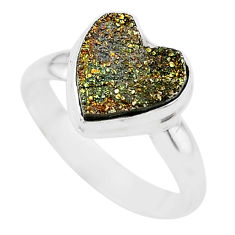 4.88cts heart golden pyrite druzy 925 silver handmade ring size 7.5 t21772