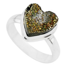 5.38cts golden pyrite druzy heart silver handmade ring size 7 t21765