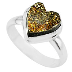 5.38cts golden pyrite druzy heart silver handmade ring size 8 t21764