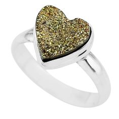 5.08cts golden pyrite druzy heart silver handmade ring size 9 t21771