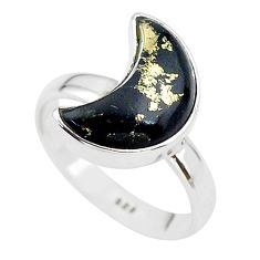5.76cts moon natural golden pyrite in magnetite silver ring size 7 t22075