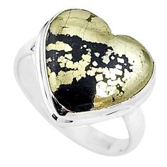 9.99cts solitaire natural golden pyrite in magnetite silver ring size 8 t15609