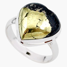10.41cts solitaire natural golden pyrite in magnetite silver ring size 8 t15614