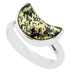 4.53cts moon natural golden pyrite in magnetite silver ring size 8 t22069