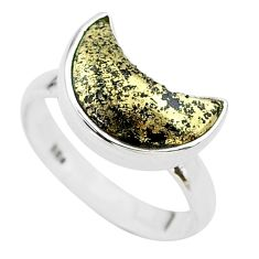 5.54cts moon natural golden pyrite in magnetite silver ring size 8 t22072