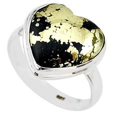 9.94cts solitaire natural golden pyrite in magnetite silver ring size 9 t15607
