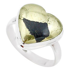 9.99cts solitaire natural golden pyrite in magnetite silver ring size 9 t15632