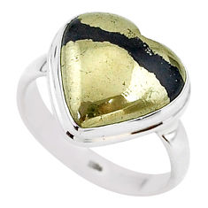 9.99cts solitaire natural golden pyrite in magnetite silver ring size 8.5 t15633