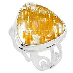 13.67cts solitaire natural golden rutile 925 sterling silver ring size 8 t10285