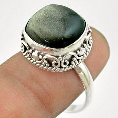6.83cts solitaire natural golden sheen black obsidian silver ring size 8 t55875