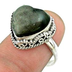 6.50cts solitaire natural golden sheen black obsidian silver ring size 8 t55912