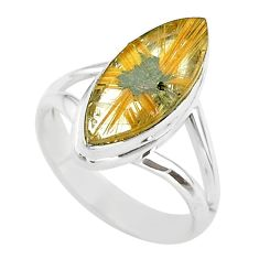 7.82cts solitaire natural golden star rutilated quartz silver ring size 7 t39496