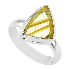 7.25cts solitaire natural golden star rutilated quartz silver ring size 9 t39498