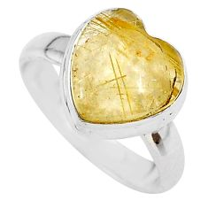 4.67cts heart natural golden tourmaline rutile 925 silver ring size 6 t21722