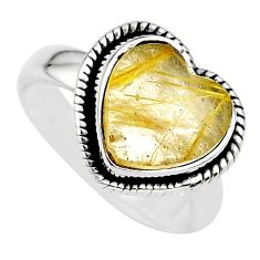 4.36cts heart natural golden tourmaline rutile 925 silver ring size 6 t21730