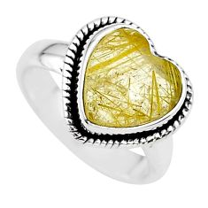 4.82cts heart natural golden tourmaline rutile 925 silver ring size 6 t21734