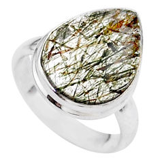 8.06cts solitaire natural golden tourmaline rutile 925 silver ring size 6 t27626