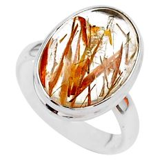 7.62cts solitaire natural golden tourmaline rutile 925 silver ring size 6 t27628