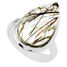 9.18cts solitaire natural golden tourmaline rutile 925 silver ring size 6 t27632