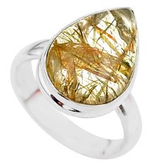 7.21cts solitaire natural golden tourmaline rutile 925 silver ring size 6 t27637