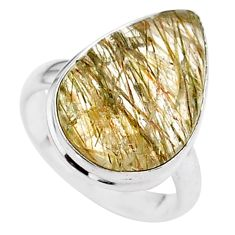 8.33cts solitaire natural golden tourmaline rutile 925 silver ring size 6 t27638