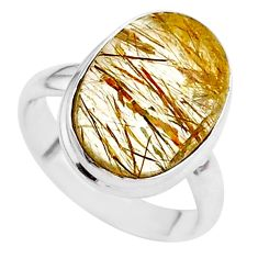 7.26cts solitaire natural golden tourmaline rutile 925 silver ring size 6 t27640
