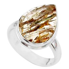 8.06cts solitaire natural golden tourmaline rutile 925 silver ring size 6 t27642