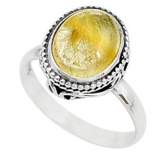 5.38cts solitaire natural golden tourmaline rutile 925 silver ring size 8 t10532