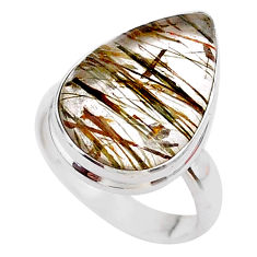 10.02cts solitaire natural golden tourmaline rutile silver ring size 6 t27649