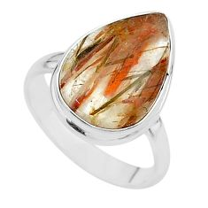 11.23cts solitaire natural golden tourmaline rutile silver ring size 9 t17956