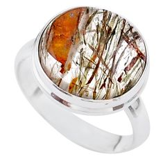 12.60cts solitaire natural golden tourmaline rutile silver ring size 9 t27648