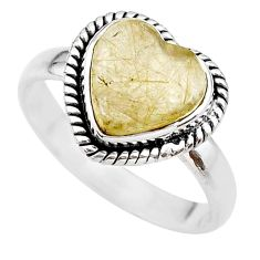 5.11cts heart natural golden tourmaline rutile silver ring size 9.5 t21721