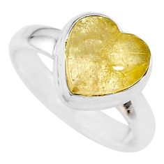 4.10cts heart natural golden tourmaline rutile silver ring size 6.5 t21737