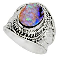 4.55cts solitaire natural green abalone paua seashell silver ring size 7 r51961