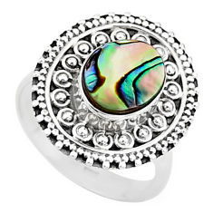 3.40cts solitaire natural green abalone paua seashell silver ring size 7 t15489