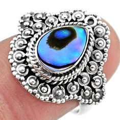 2.56cts solitaire natural green abalone paua seashell silver ring size 7 t46134