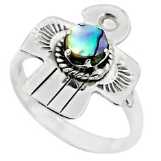 0.49cts solitaire natural green abalone paua seashell silver ring size 7 t6325