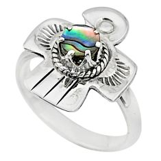 0.60cts solitaire natural green abalone paua seashell silver ring size 7 t6327