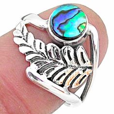 0.98cts solitaire natural green abalone paua seashell silver ring size 7 t6370