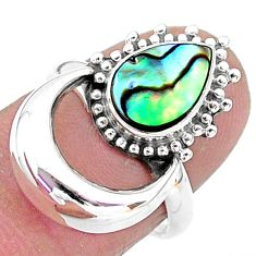 2.52cts solitaire natural green abalone paua seashell silver ring size 7 t6389