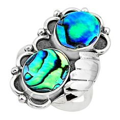 7.13cts solitaire natural green abalone paua seashell silver ring size 7 t6429